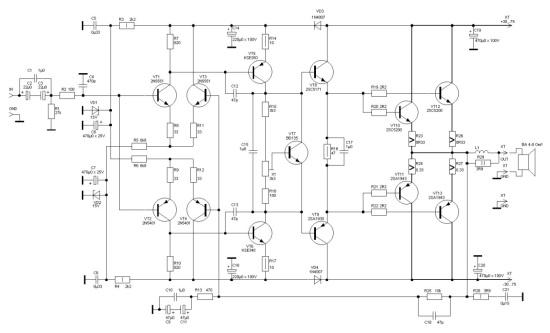 Усилитель мощности Лазнар на биполярных транзисторах