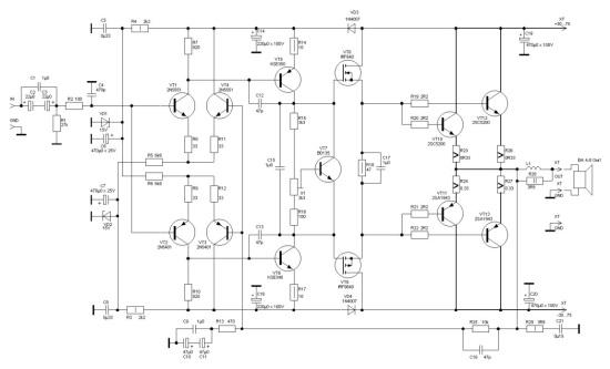 Усилитель мощности с использованием полевых транзисторов.