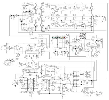 Принципиальная схема модуля, содержащенго в себе:   усилитель мощности на 550 Вт с защитой от перегрузки;  импульсный, стабилизированный сетевой источник питания;  предварительный усилитель;  индикатор выходной мощности;  управление принудительным охлаждением;  защиту АС от постоянного напряжения;   защиту от перегрева оконечных транзисторов.