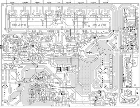 Расположение деталей на печатной плате модуля усилителя мощности с блоком питания.