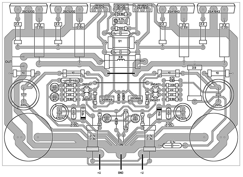 схема усилителя на mjl21193/mjl21194