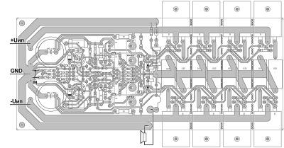 Расположение деталей и схема подключения усилителя мощности.