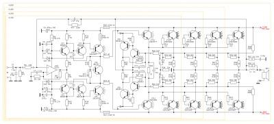 Принципиальная схема высококачественного усилителя мощности на базе ОУ и биполярных транзисторов.