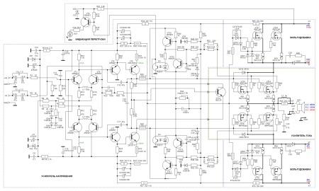Принципиальная схема усилителя мощности до 600 Вт класса G.