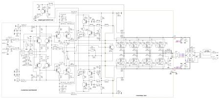 Принципиальная схема услителя мощности до 400 Вт.