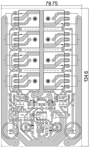 Расположение деталей на печатной плате и схема подключения усилителя.
