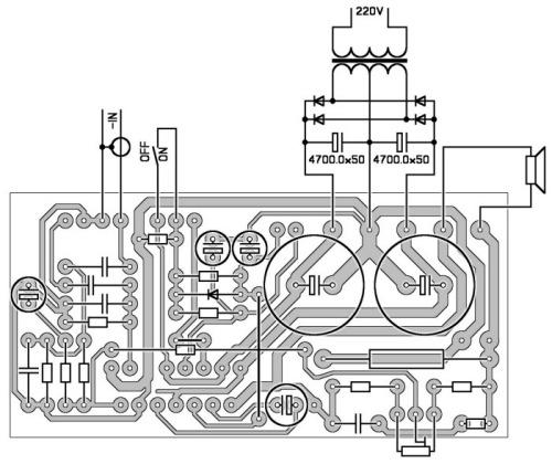 Инвертирующее включение с возможностью плавной регулировки режима ИТУН для микросхем TDA7293 TDA7294