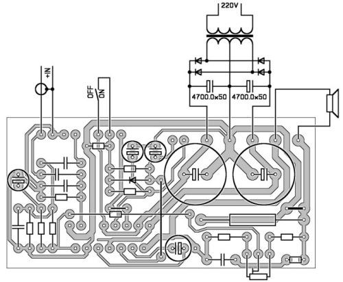 Инвертирующее типовое включение TDA7293 TDA7294
