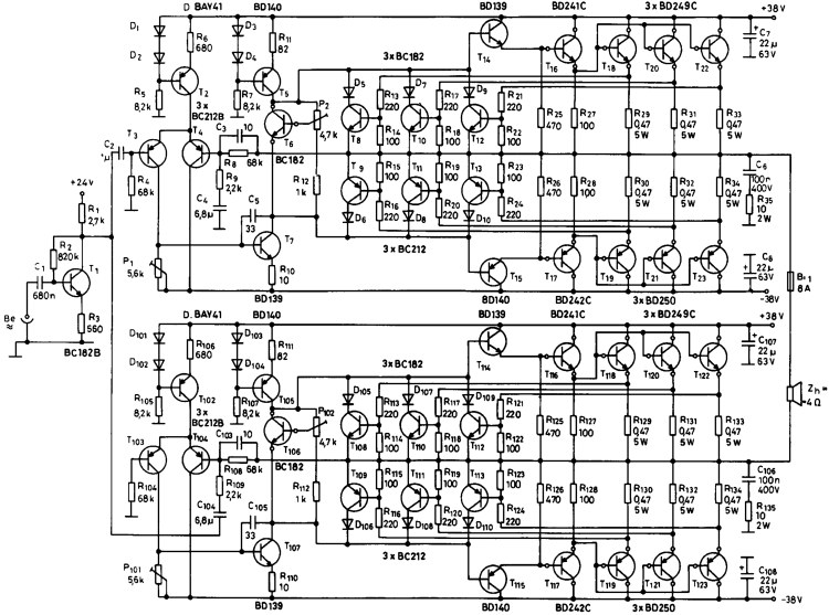 Схема автомобильный усилитель сабвуфера.