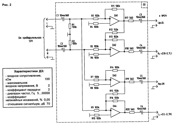 Для применения в автомобильном усилителе хочу разложить 2 канала стерео...