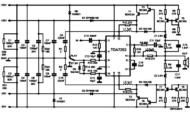 Схема включения TDA7293 с плавающим питанием