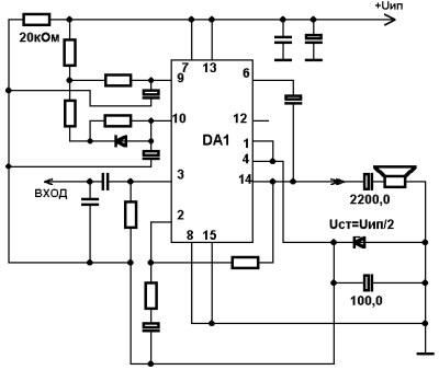 Схема включения TDA7293 от однополярного питания