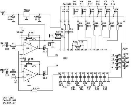 схема включения µРС1892