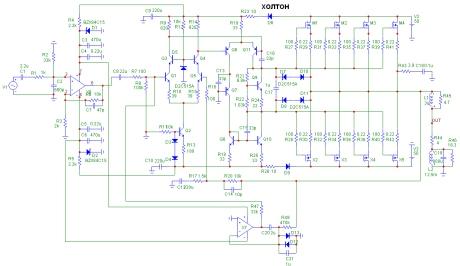 Рисунок 66.  Принципиальная схема усилителя Холтона с буферным усилителем и интегратором.