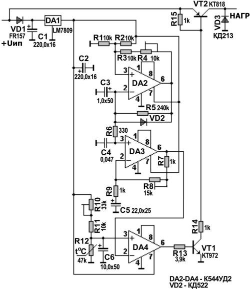 Рисунок 1 Принципиальная схема терморегулятора для дискретного исполнительного устройства.