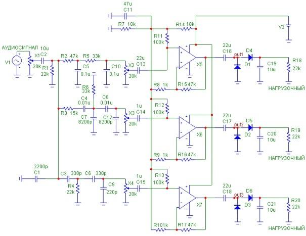 Рисунок 3 Принципиальная схема трехканальных фильтров цветомузыки.