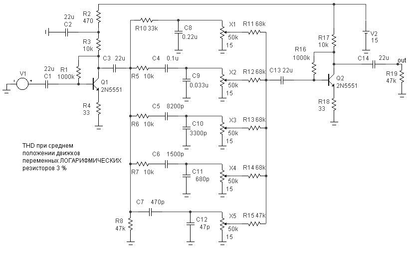 Схемы регуляторов тембра и эквалайзеров.