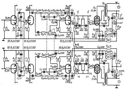 Принципиальная схема стереофонического лампового усилителя мощности И. Кусева