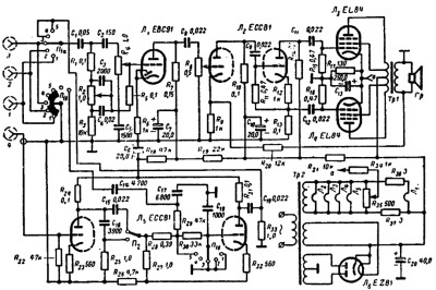 Принципиальная схема лампового усилителя Ф.Кюне