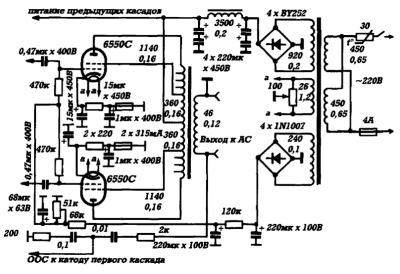 Принципиальная схема двухтактного лампового усилителя мощности Jadis DA5