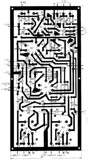 Чертеж печатной платы лампового усилителя мощности Е. Сергиевского