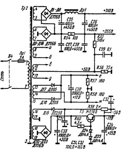 Принципиальная схема источника питания лампового усилителя мощности А.Баева
