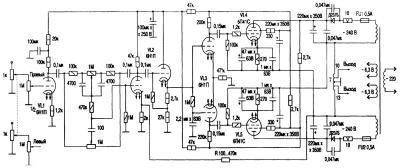 Схема лампового усилителя мощности К. Вайсбейна
