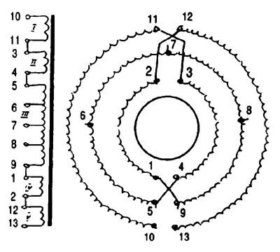Расположение обмоток выхождного трансформатора усилителя К. Вайсбейна