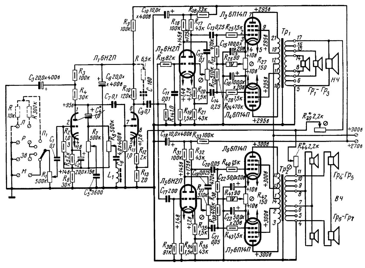Рисунок 46 Принципиальная схема лампового усилителя мощности А. Межеровского.