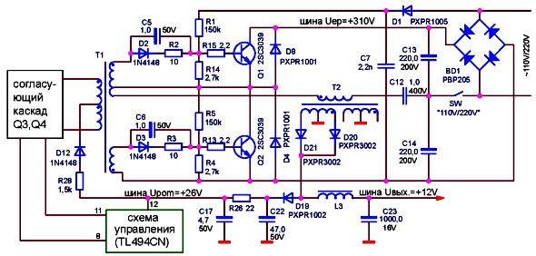 Схема запуска с самовозбуждением в импульсном блоке питания LPS-02-150XT